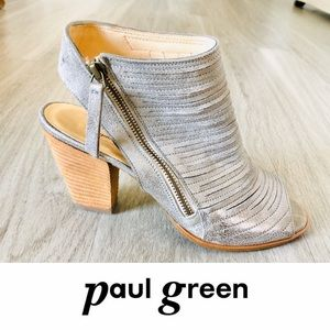 Paul Green Silver Shimmer Leather Peep Toe Booties